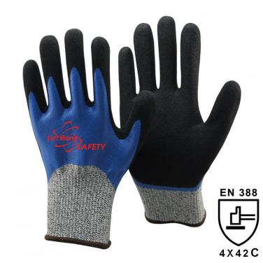 13 Gauge Cut Resistant Liner Nitrile Double Coated Gloves DY1359DC-B/BLK