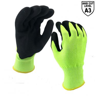 13 Gauge ANSI Cut A3 Liner Sandy Nitrile Palm Coated Glove DY1350F-H