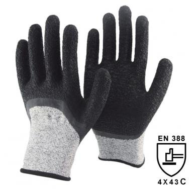 13 Gauge Anti-cut Knitted Liner Half Coated Crinkle Latex High Cut Resistant Gloves DY1355NM-H