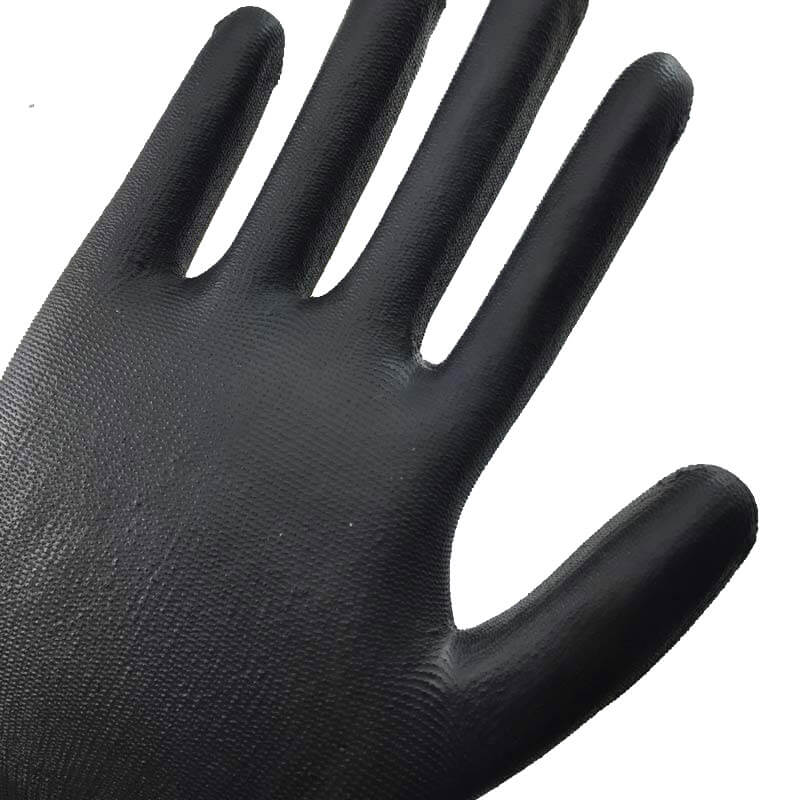 Black Nylon Knit  Dipped PU Work Glove- PU1350-BLK