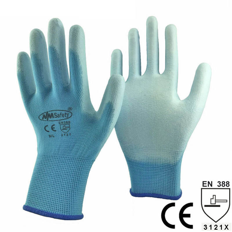 Colorful Polyester With PU Palm dipped glove - PU1350P-LB