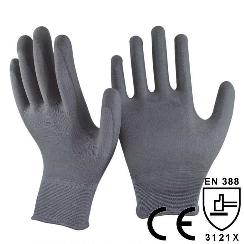 Grey Polyester Knitted PU Coated Glove- PU1350P-DG