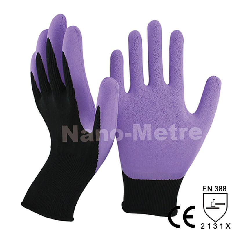 Purple Foam Latex Dipped Palm Glove For Gardening -NM1350F-BLK/PP