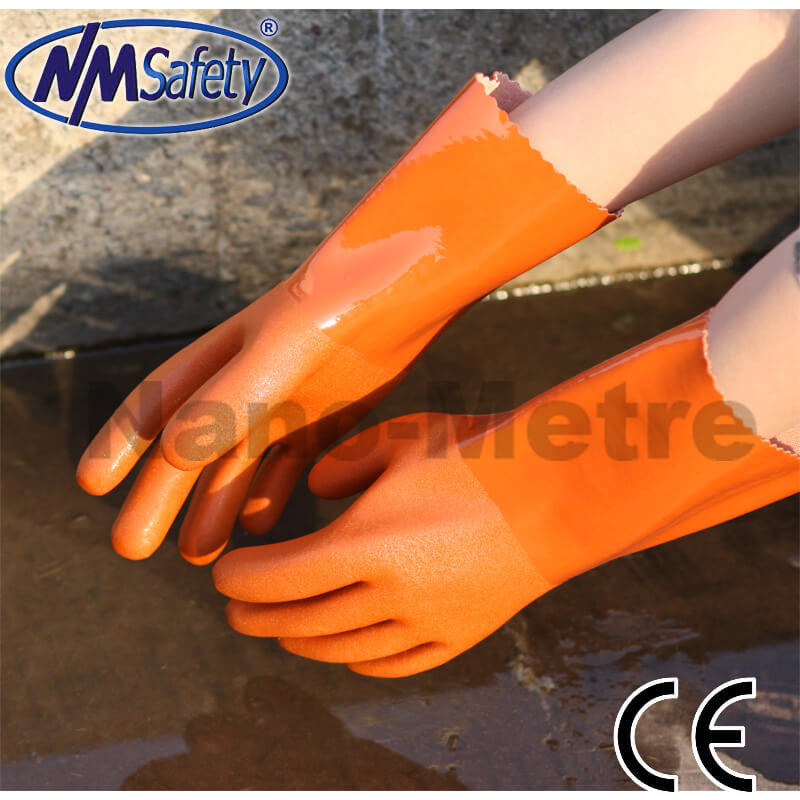 Cotton Liner With Dark Red PVC Full Coated Gauntlet - PVC1380-RR