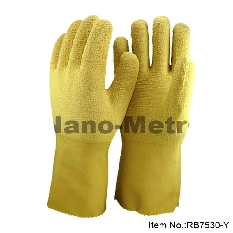 Yellow Rubber Work Glove With Jersey Liner, Wrinkle Finish -RB7530-Y