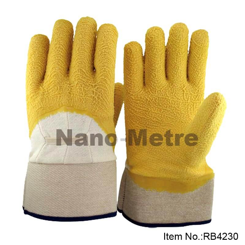 Jersey Liner 3/4 Coated Yellow Latex Crinkle Finish Glove -RB4230