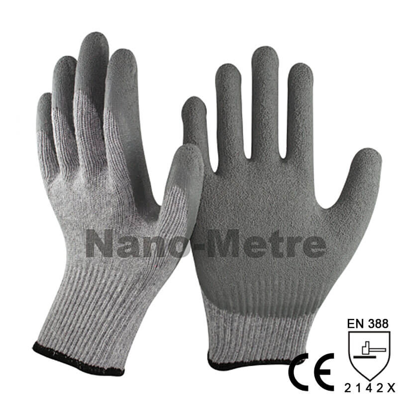 Grey Latex Crinkle Palm Safety Work Glove -NM10902E-GR