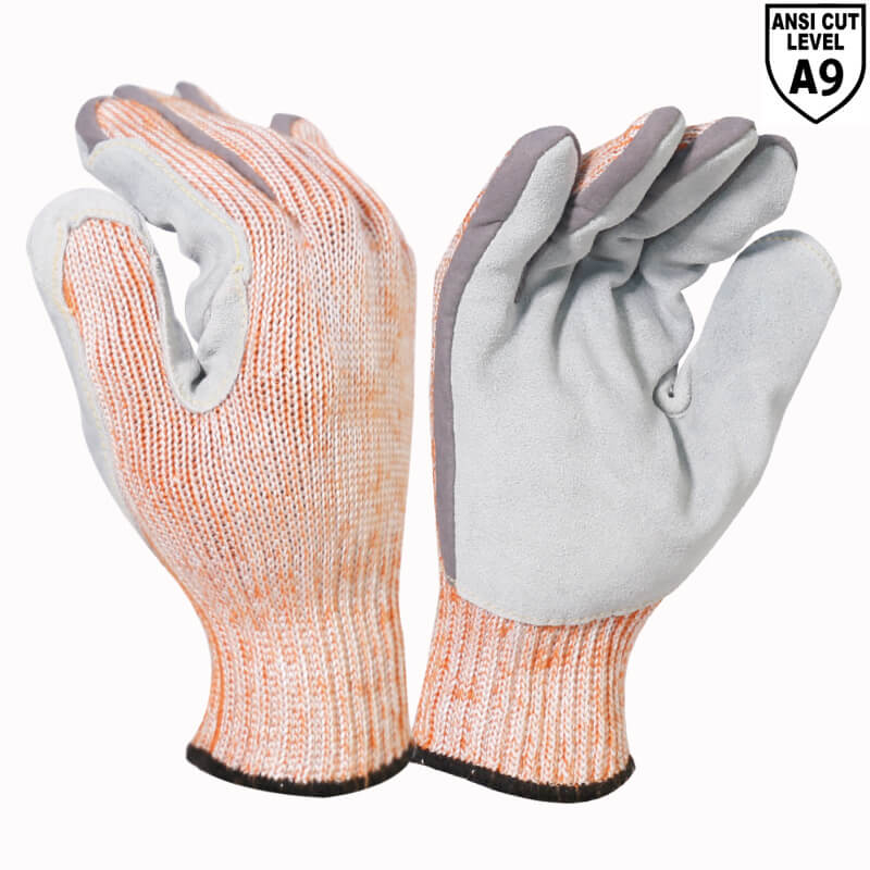 ANST CUT 9 7 Gauge Aramid Fibers+Nylon & Stainless Steel Fiber Leather Palm Glove -DY007CS