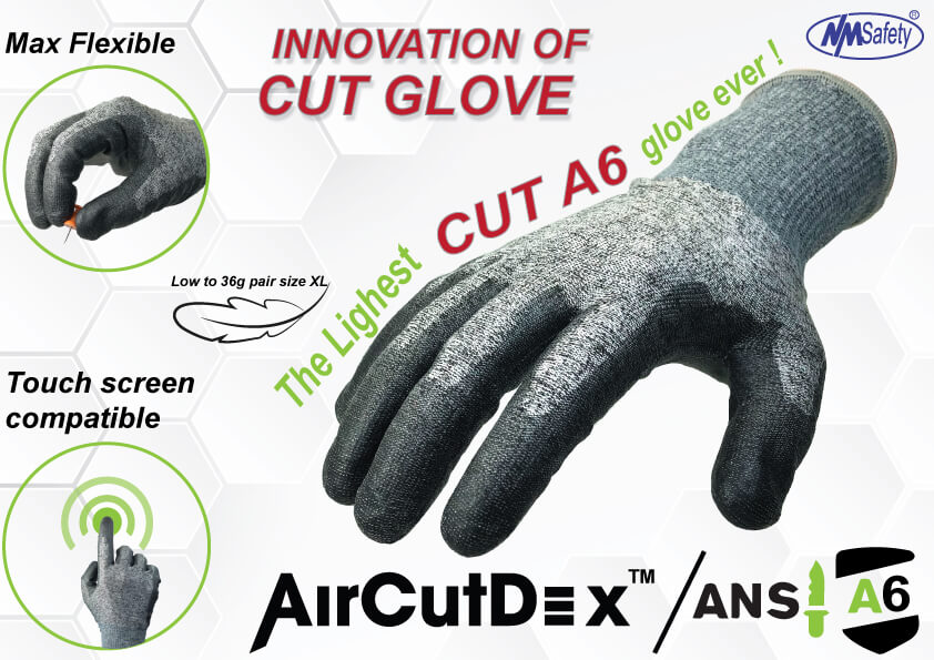 NMFlex-Cut™ Fiber Liner ANSI Cut Level 6 Touch Screen Work Glove -DY1850H-H6