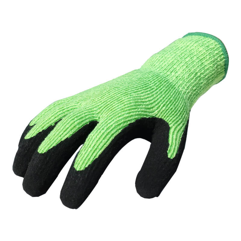 7 Gauge Them-Cut™ Fiber Knitted Coated Black Foam Latex on Palm Glove - DY007NMF