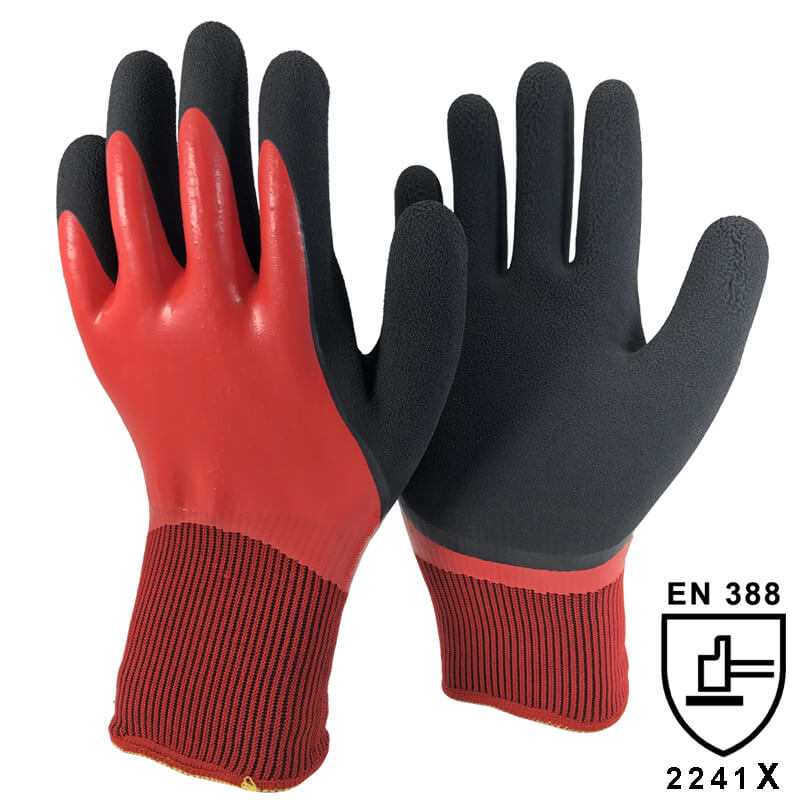 13 Gauge Double Shell Knitted Liner with Double Coating Winter Work Gloves - NM1359DC-R/BLK