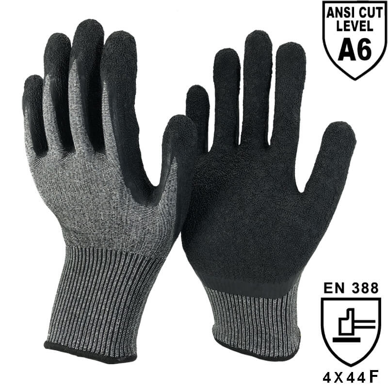 13 Gauge Double NMShield™ Knitted Shell Palm Coated Crinkle Latex Needle Resistant Glove - DY1350NM-NR