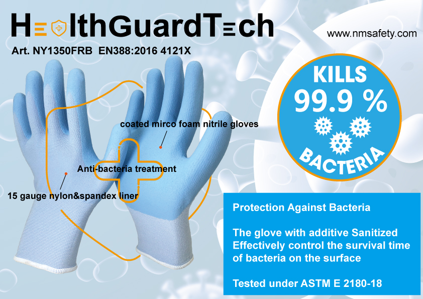 High-Technology Foam Nitrile Coating Anti-Bacteria Glove-NY1350FRB-AB