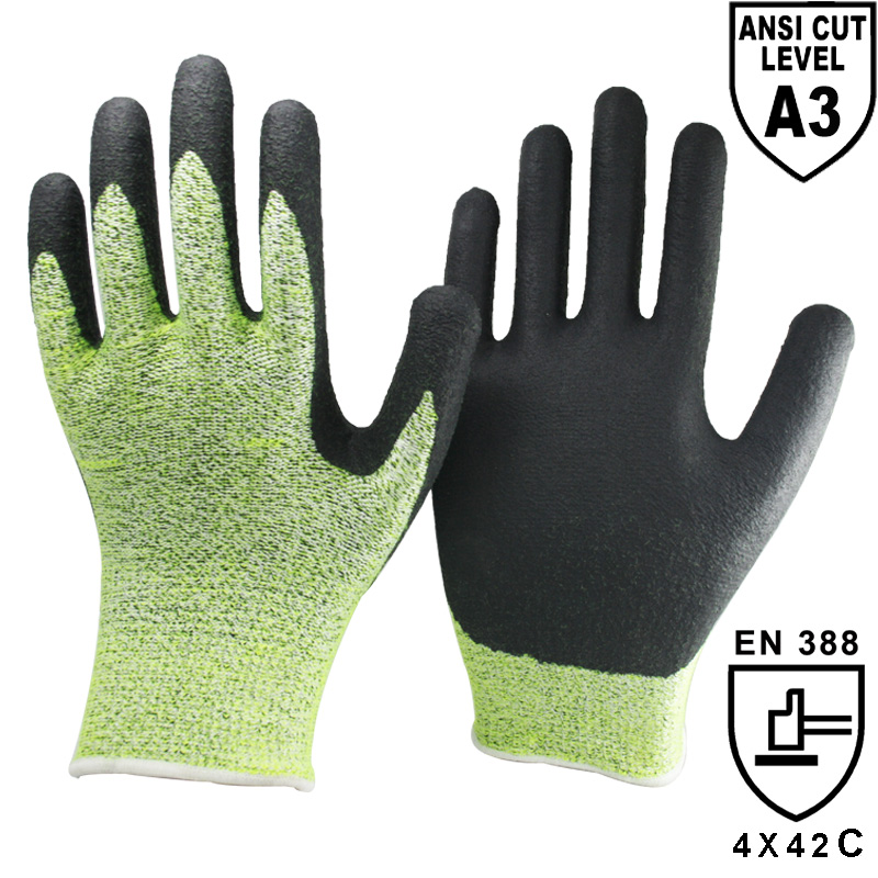 Foam Nitrile Cut level C Protective Work Glove -DY1350FRBL-HY/BLK