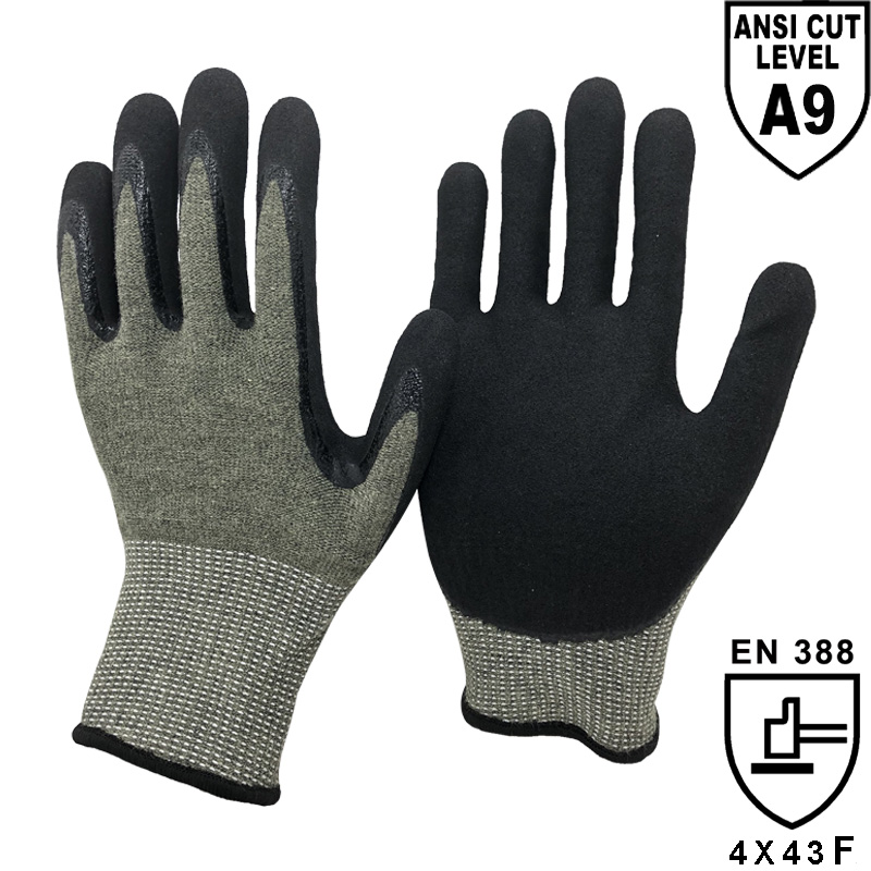 13 Gauge Strgst-Cut™ Tech Shell Plam Coated Sandy Nitrile A9 Cut Resistant Glove - KV1350S-H9