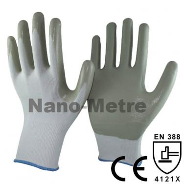 13 Gauge Grey Nitrile Coated Palm Work Automotive Gloves -NY1350-LG