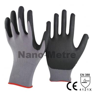 High-Technology Foam Nitrile Coating Nylon Spandex Knitted Glove-NY1350FRB-GR/BLK
