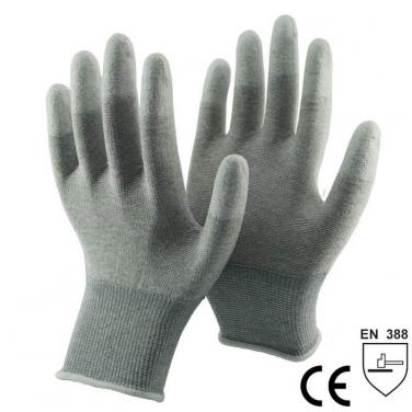 Nylon-Carbon knitted Liner Coated White PU On Finger Tips ESD Glove- PU20.07F