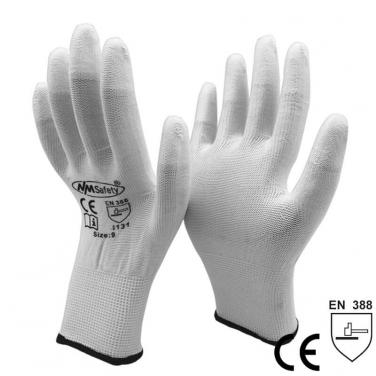 White PU Coated On Fingertip Nylon Working Gloves- PU1310-W
