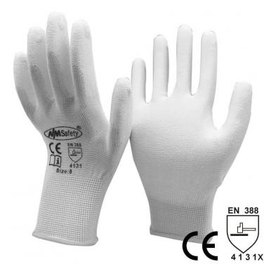 White Nylon Dipped PU Anti Static Work Glove- PU1350-W