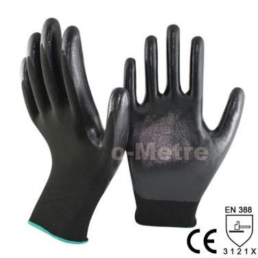Smooth Nitrile Dipping Black Polyester Work Glove- NY1350P-BLK