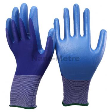 Super Soft Seamless Knitted Navy Blue Nylon Dipped Nitrile Glove- NY1850-NV/B