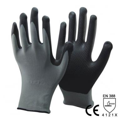 High-technology Foam Nitrile With Emboss Grip Nylon Glove - NY1350FP-GR/BLK
