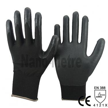 13 Gauge Black Nylon knited Liner With Foam Nitrile Glove- NY1350FSB-BLK