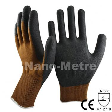 High-Technology Black Foam Nitrile Dipped Good Warm Work Glove -NY1350FRBL-BR/BLK