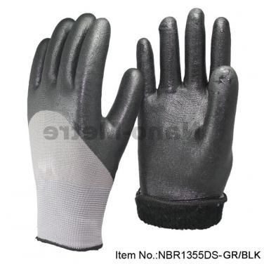 Sandy Nitrile Coated Winter Glove Use For Working In Cold Weather - NBR1355DS-GR/BLK