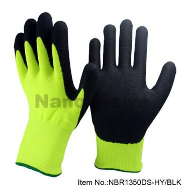 13G Nylon & 7G Nappy Acrylic Liner Coated Nitrile Winter Work Glove- NBR1350DS-HY/BLK