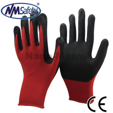 Red Nylon Liner Dipped Sandy Nitrile Glove-  NY1350S-R/BLK