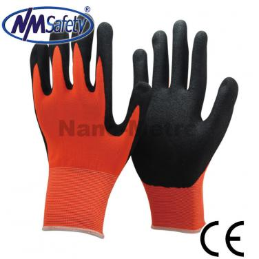 Sandy Nitrile Coating Palm Nylon Work Glove- NY1350S-OR/BLK