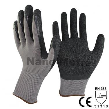 Black Latex Grip Dipped Palm Nylon Labor Work Glove- NM1350-GR/BLK