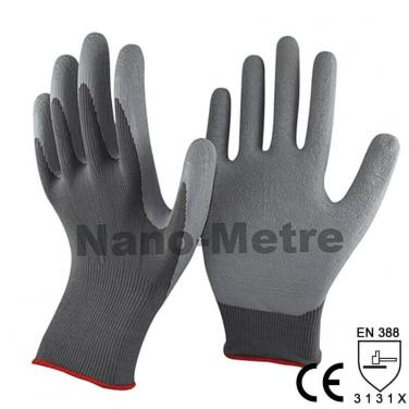 13 Gauge Grey Polyester Coated Rubber Work Gloves -NM1350-DG
