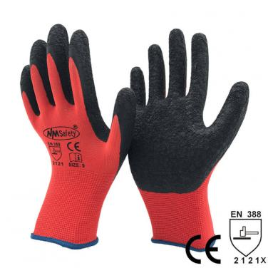 13 Gauge Red Polyester Latex Economic Work Gloves -NM1350P-R/BLK