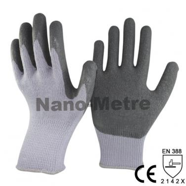 Grey Polycotton Construction Work Glove With Latex Crinkle Palm -NM10902-GR
