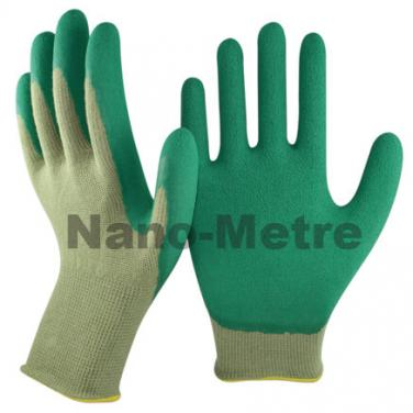 13 Gauge Green Bamboo Liner Coated Foam Latex Palm Glove - BB1350F-GN