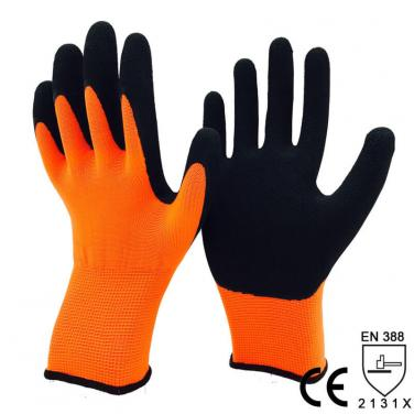 Super Sensitivity Nylon Dipped Foam Latex Palm Glove -NM1350F-OR/BLK