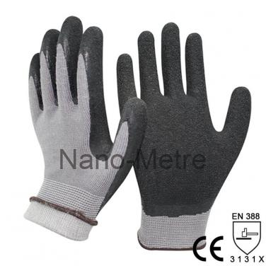 13G Nylon and Acrylic Liner Coated Black Latex Rubber Glove- NM1350L-GR/BLK