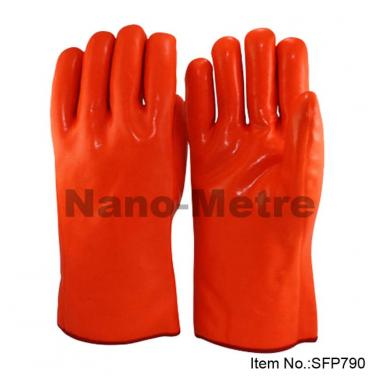 3 Layers Liner Full Coated Orange Fluorescent PVC Glove - SFP 790
