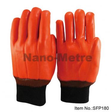 Full Coated Orange Fluorescent PVC Glove, Knit Wrist - SFP 180
