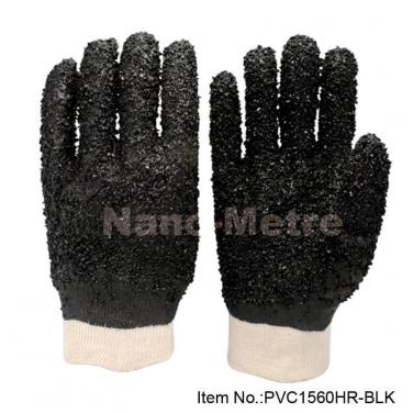 Cotton interlock coated black PVC Glove  - PVC1560HR-BLK