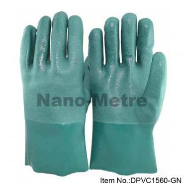 Cotton Interlock & Jersey Double Full Coated Green PVC Gauntlet - PVC7560-GN
