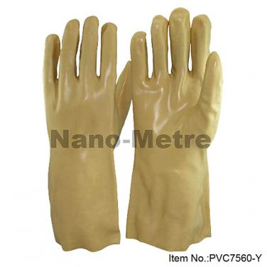 Cotton Interlock Liner With Yellow PVC Full Coated Gauntlet - PVC7560-Y