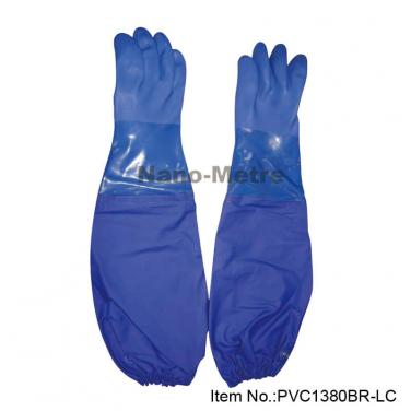 Blue PVC Dipping Glove For Winter Use - PVC1380BR-LC