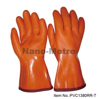 Terry Cloth Liner With Dark Red PVC Full Coated Gauntlet  -PVC1380RR-T