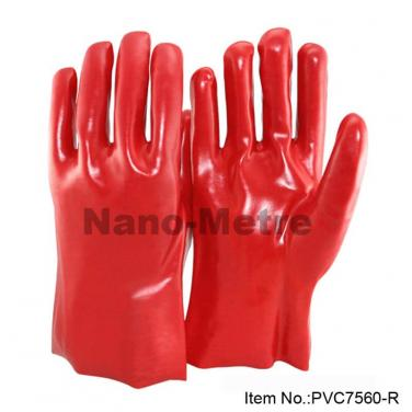 Cotton Interlock Full Coated Red PVC Gauntlet - PVC7560-R
