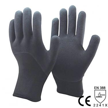 Black Foam Latex 3/4 Dipped Double Knit Liner Palm Winter type Glove- NM1355DF-BLK