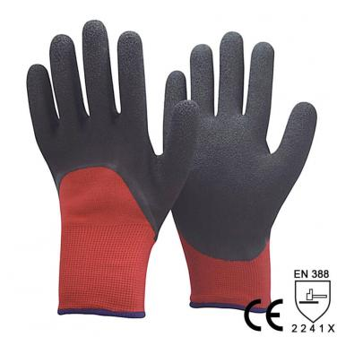 Red Nylon And Acrylic Liner Diping Black Foam Latex Work Glove in Winter -NM1355DF-R/BLK